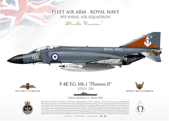 "Color Litho - F-4K HMS Ark Royal 892 NAS, March-1969  ""Strike Unseen"" Ship #006"